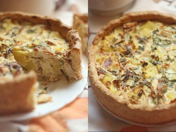 Открытый пирог курицей рецепт фото